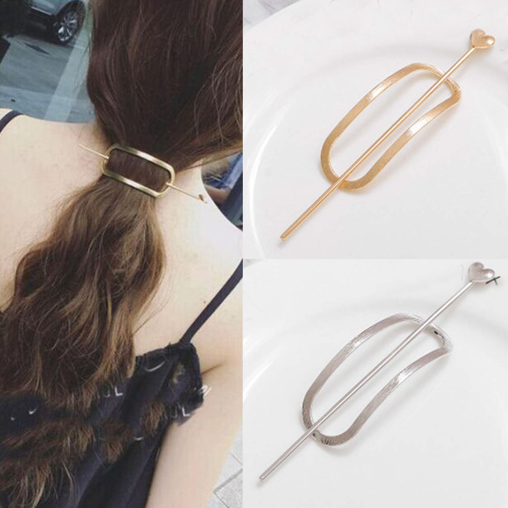 US $0.48 13% OFF|Girls Oval Shape Hairpins Hair Clips Hairgrip Hair Accessories Gold Silver Color Barrettes Pin Womens Hair Clip Accessories|Hair