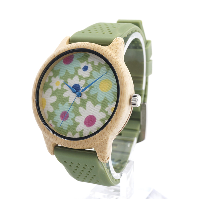 BOBO BIRD B04  Fashion Causal Wood Bamboo Watch with Fabric Dial Ladies'  Wood Watches With Silicone Straps Quartz Watch