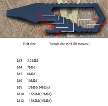 Titanium TC4 EDC Multifunctional M3 M4 M5 M6 M8  M10 M12 Flat Screwdriver / Spanner / Bottle Opener / Key Accessory 20g/pc