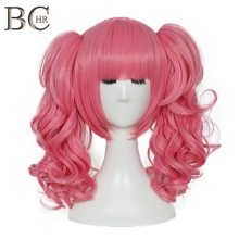 BCHR Короткие Аниме косплей парик розовый цвет синтетические парики с двумя хвостиками для костюма Вечерние