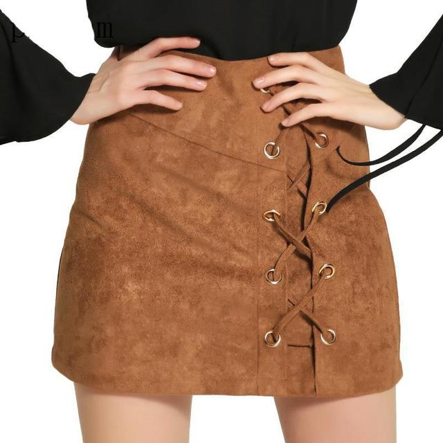 0df43e753d Women's Vintage High Waist External Pocket Tight Suede Lace Up Skirt  All-Match Bandage Fashion High Waist Short Pencil Skirt