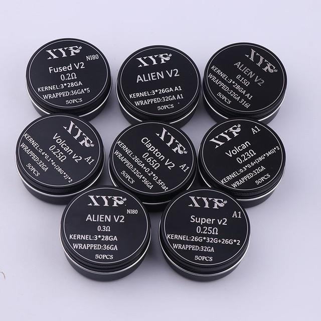 NEW XYF 50pcs/l00pcs Prebuilt Coil Clapton Twisted ALIEN V2 clapton wire coils Heating Resistance Wire Fit RDA RDTA DIY Atomizer