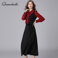Queechalle Black Red Patchwork Chiffon Dress Autumn Bow Ties Collar Long sleeve Elegant dress with Belts 5XL Plus size vestidos
