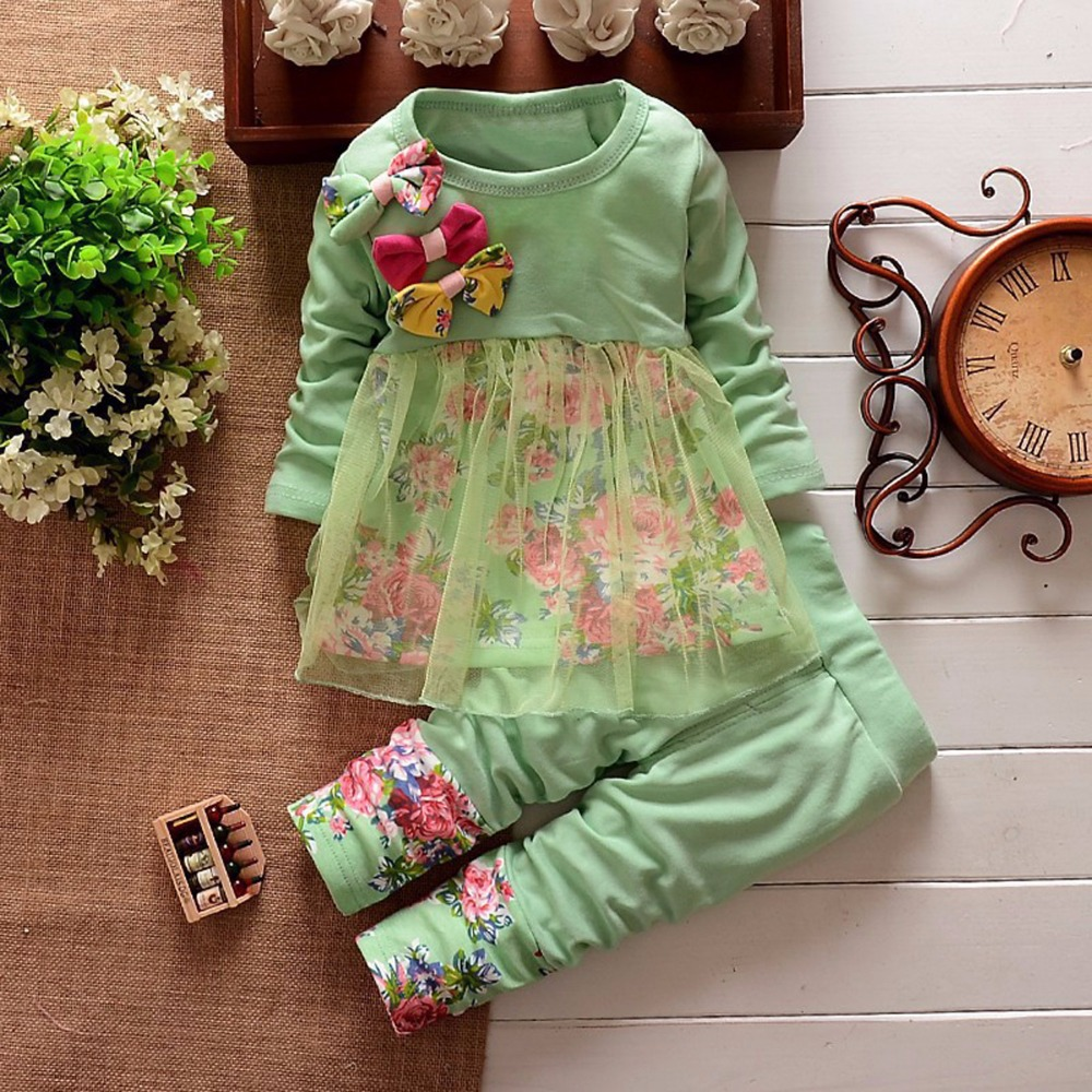 Puseky 2Pcs Baby Girls Kids Clothes Sets Toddler Long Sleeved Bow Flower Cute Tulle T-shirt Tops + Pants Outfit Set Girl 6M-4Y 2016 new girls flowers lace 3pcs clothes sets spring autumn kids coat long sleeved t shirt pants cute patter girl set high grade