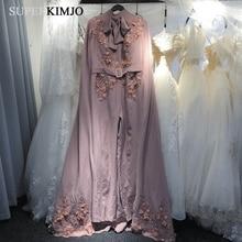 SuperKimJo Dusty Pink Jumpsuits for Women 2019 Lace Applique 3D Flowers Pants Evening Party with Dubai Cape Abiye Elbise