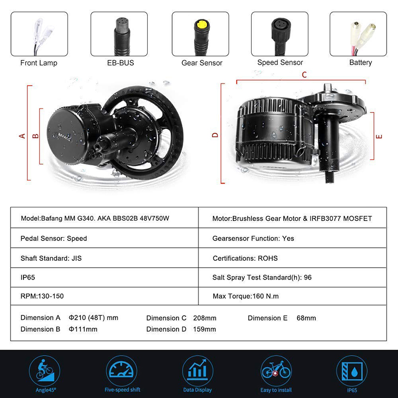 Cheap 48V 750W Bafang BBS02B Mid Drive Motor Electric Bike Conversion Kit with Lock 12Ah/17.5Ah Bicycle Battery built in Samsung Cell 1