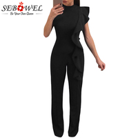 Sebowel 2018 Summer Elegant Long Jumpsuit Women Casual Ladies One Piece Outfits Rompers Sexy Officewear Bodycon