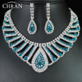 Classic Austrian Crystal Women Wedding Jewelry Promotion Wholesale Rhodium Plated Fashion Cheap Rhinestone Bridal Jewelry Sets