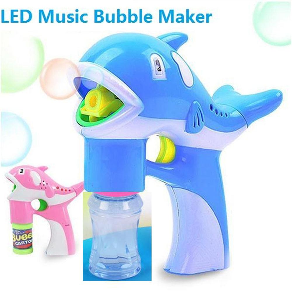Hot Bubble Gun Toys LED Dolphin Music Lamp Light Bubble Machine Cute Cartoon Animal Automatic Soap Water Bubble Blowing Toys