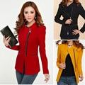 Las mujeres 2016 de las mujeres del Diseño corto de manga larga chaqueta de invierno las mujeres cremallera chaquetas mujer Costo Ropa de Chaquetas de Traje S-2XL