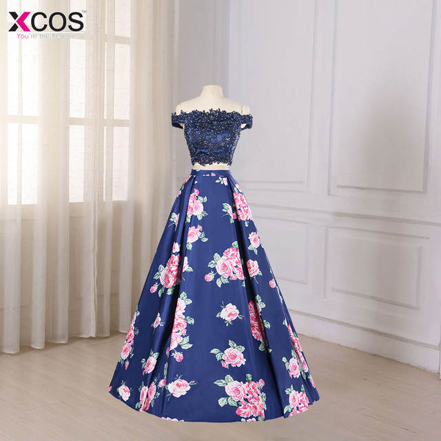 6df37152fe5 Off the Shoulder Two Piece Prom Dresses Long Floral Print Blue Lace Applique  Special Occasion Formal