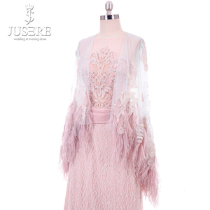 Image 4 - Straight Column Beading Illusion Bodice Detail Lace Appliques Shoulder Cap Feather Edge Big Long Train Pink Evening Dress 2018