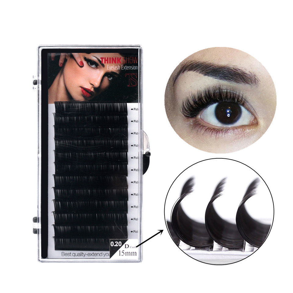 THINKSHOW 100% Handmade Eyelashes 3d Lashes Extension Eyelash Individual False Eyelashes Natural D Curl Eyelash Extensions Cilia