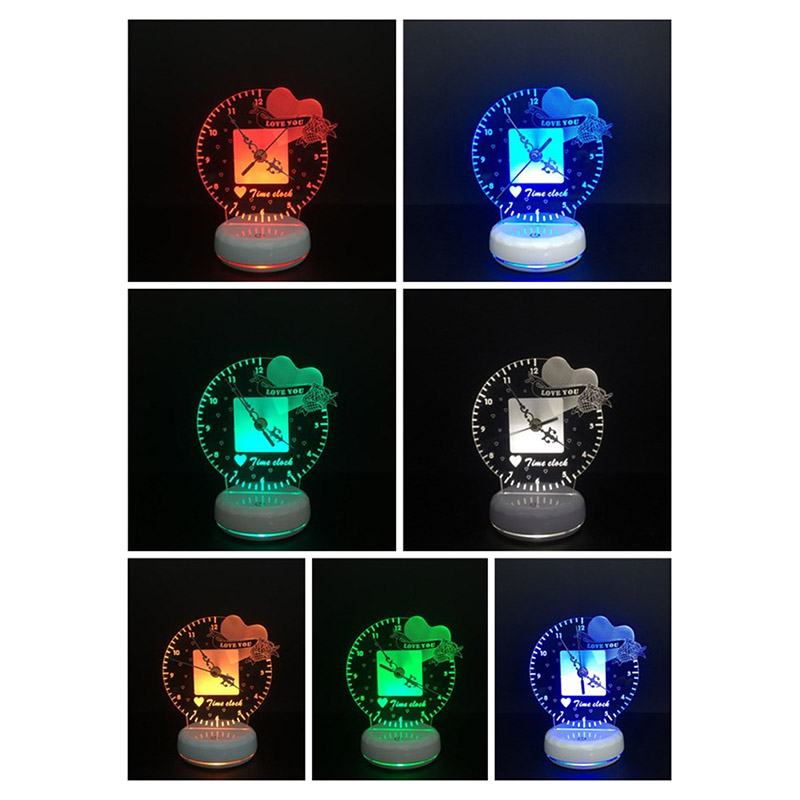 Novelty Time Clock 3D LED Table Lamp USB Touch Remote Control Night Light With Multicolor I Love You For Kid Bedroom Decor
