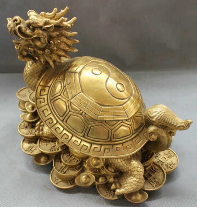 "S5250 13 ""Китай Чистая Латунь Народная 8 Триграмм Дракон Черепаха На Богатство Монета YuanBao Статуя D0318"