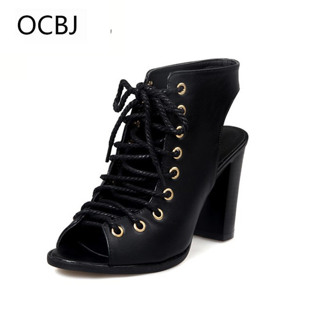 mature style summer women lace up square heel 9.5cm sandals cross