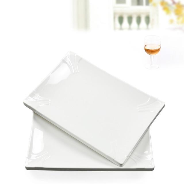 European rectangular plastic melamine pasta appetizer beefsteak dinner plates-in Dishes & Plates
