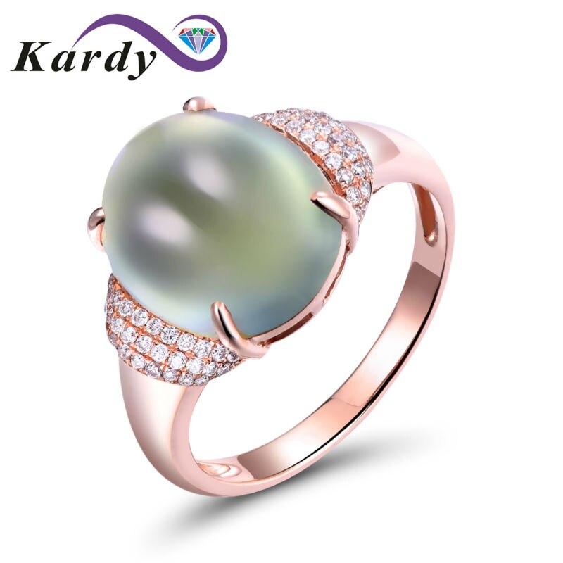 Bague de mariage en or Rose 14 K avec diamants de fiançailles pour femmes