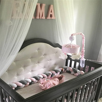 New Arrival Hot selling 4M Baby Protect Colorful Handmade Long Soft Knot Pillow Braided Weaving Plush Crib Bed Bumper Decorative
