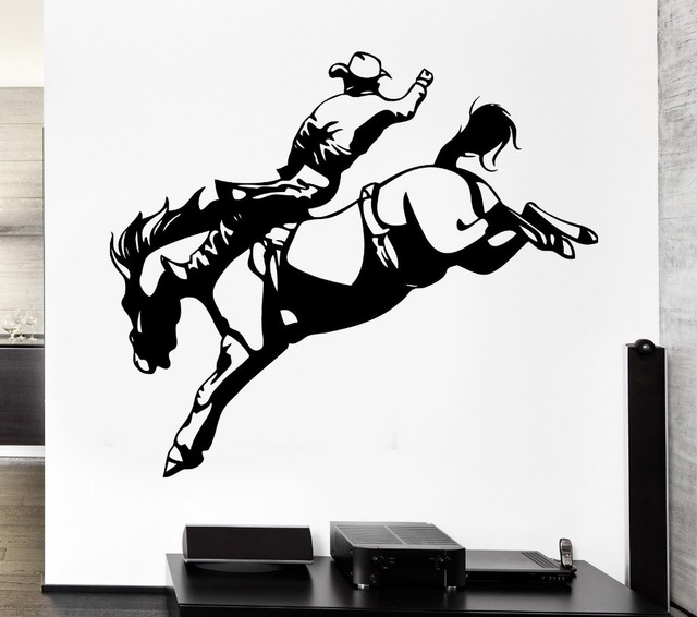 Cowboy sticker riding decal posters vinyl art wall decals for Cowboy wall mural