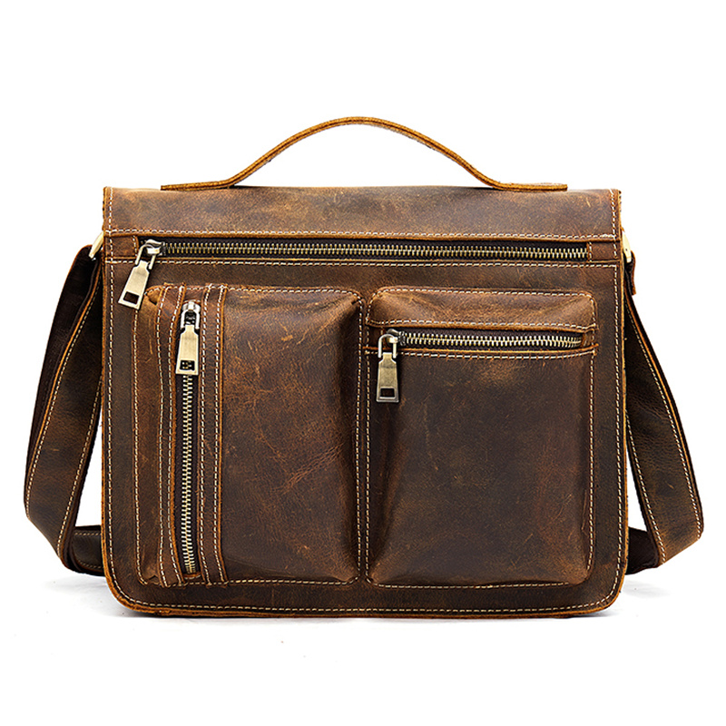 Man's Genuine Leather Briefcases Crossbody Shoulder Fashion Anti-theft Handbag Messenger Male Blosa Business Travel Gift Mochila
