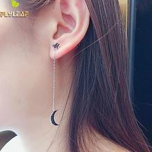 Flyleaf Black Cubic Zirconia Asymmetry Star Moon Long Drop Earrings For Women 100% 925 Sterling Silver Fashion Jewellery