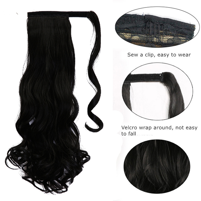"WTB 22"" Long Wavy Wrap Around Clip In Ponytail Hair Extension Heat Resistant Synthetic Natural Wave Pony Tail Fake Hair 1"
