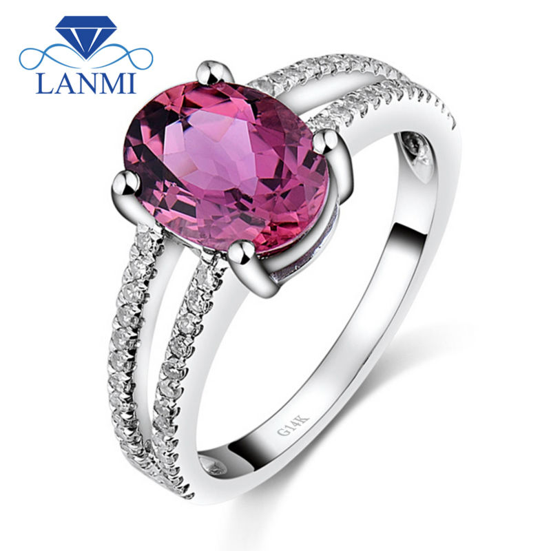 Oval 7x9mm Solid 14Kt White Gold Tourmaline Engagement Ring Real Diamond Gemstone Jewelry for Girlfriend