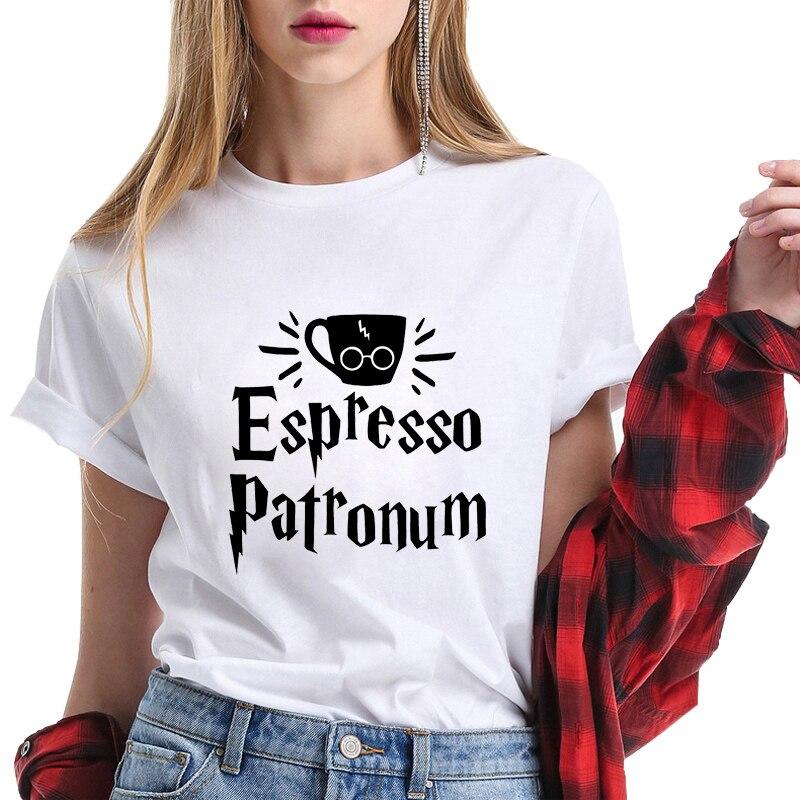 Korean Fashion Clothing Tshirt O-neck Sweatshirt Coffee Harry Letter Clothes Aesthetic Clothes Harajuku T-shirt Potter Tops Tees