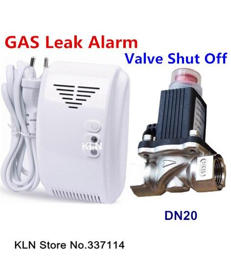 imágenes para Sentido Detector de Fugas de gas Natural Glp Alarme y Electroválvula DN20 Válvula de Apagar el Gas Automaticlly para Seguridad En el Hogar