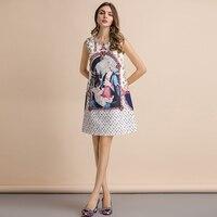 Vestido mini corte recto suelto estampado vintage verano apliques 1
