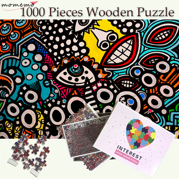 MOMEMO Smile 1000 Pieces Puzzle Wooden Jigsaw Puzzles Toys for Adults Education Wooden Toys for Childen 1000 Pieces Puzzle Games