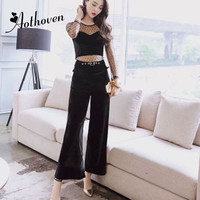 Two Piece Set 2018 Autumn Office Business Suit Women Casual Gauze Patchwork Long Sleeve Tops and Wide Leg Pants 2 Piece Sets