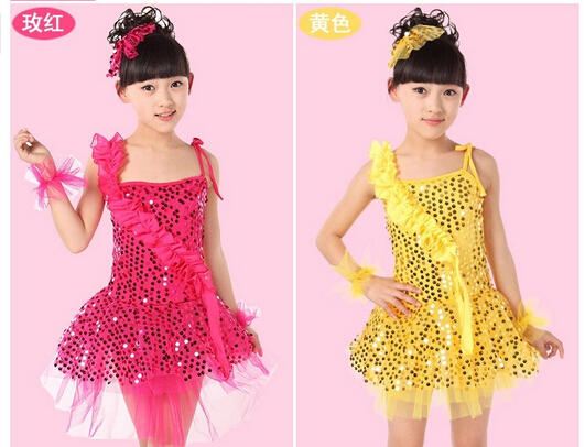 1pcs/lot free shipping Children girl  latin dancing dress sequined organza short performance dress