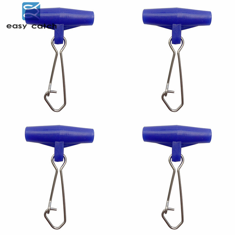 Easy Catch 50pcs Fishing Sinker Slip Clip Blue Plastic Head Swivel With Hooked Snap Fishing Weight Slides For Braid Fishing Line owner 52567 16 hooked snap swivel 9 шт