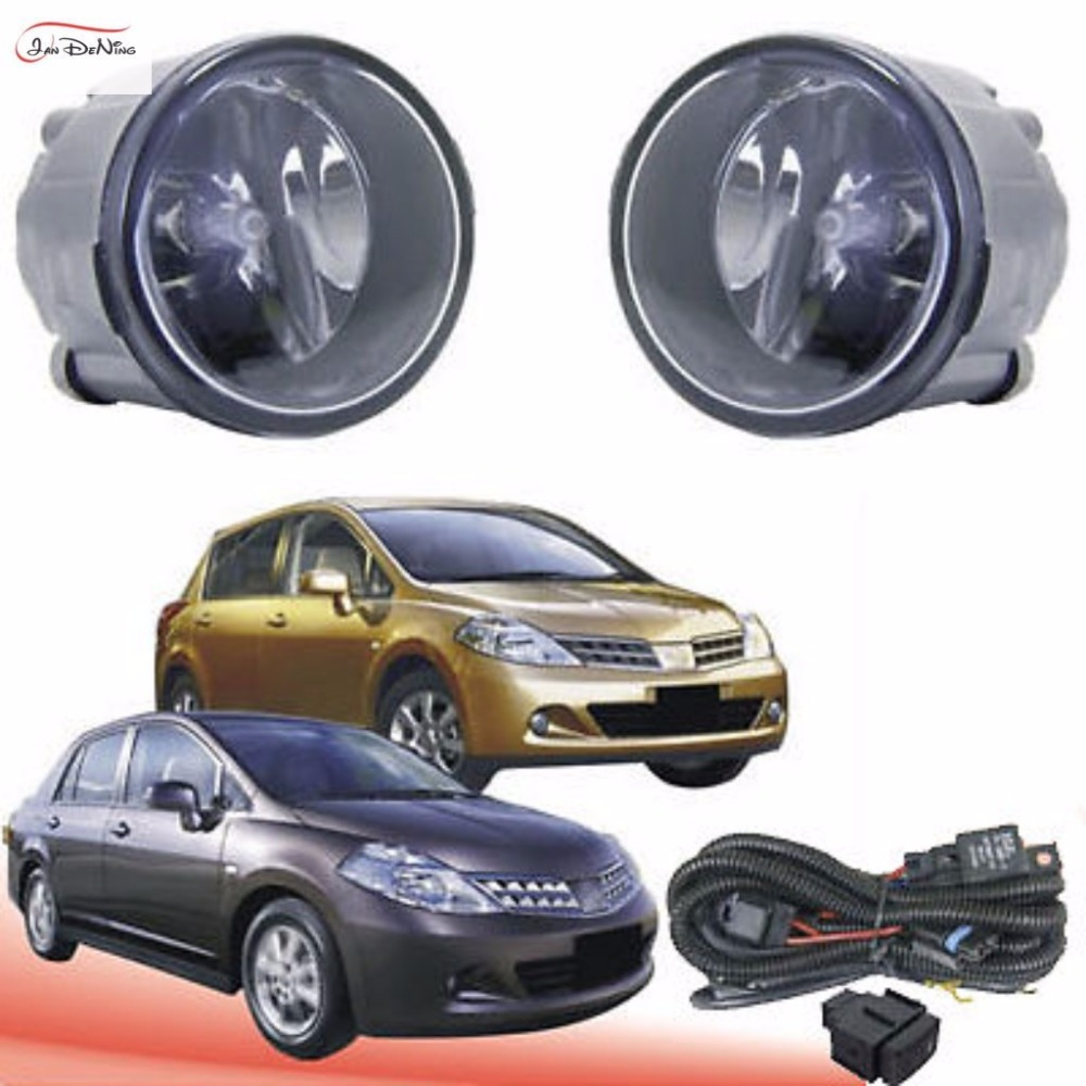 JanDeNing Car Fog Lights For Nissan TIIDA 2009 ~ 2010 Front Bumper Fog Lamp Light Replace Assembly kit(one Pair) car fog lights lamp for mitsubishi triton 2 door 2009 on clear lens pair set wiring kit fog light set free shipping