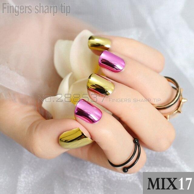 48 unids cuadrado corto clavos falsos metálicos oro espejo púrpura ...