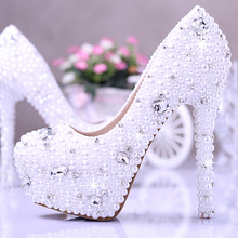 Gorgeous Bridal Shoes 14cm Super High Heel Dress Shoes White Elegant Honeymoon Shoes Imitation Pearl Wedding Dress Shoes