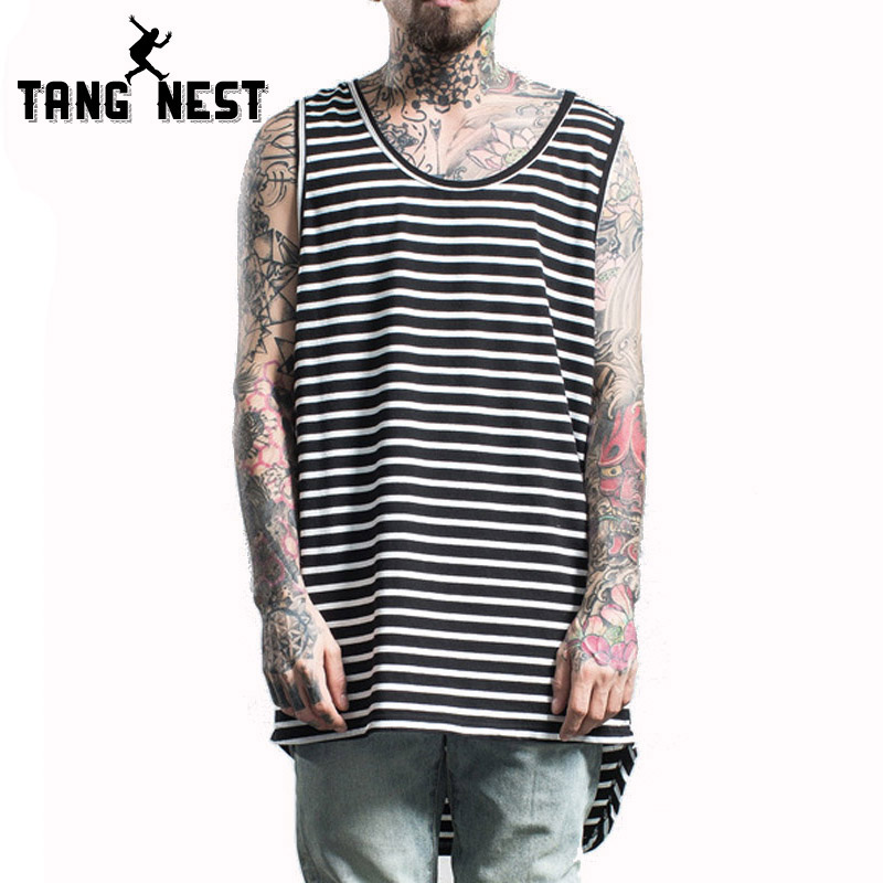 TANGNEST 2017 Striped Casual O-Neck Men Tank Tops Hot Sale Summer Fashion Vest Men Slim Comfortable Clothing MBS059