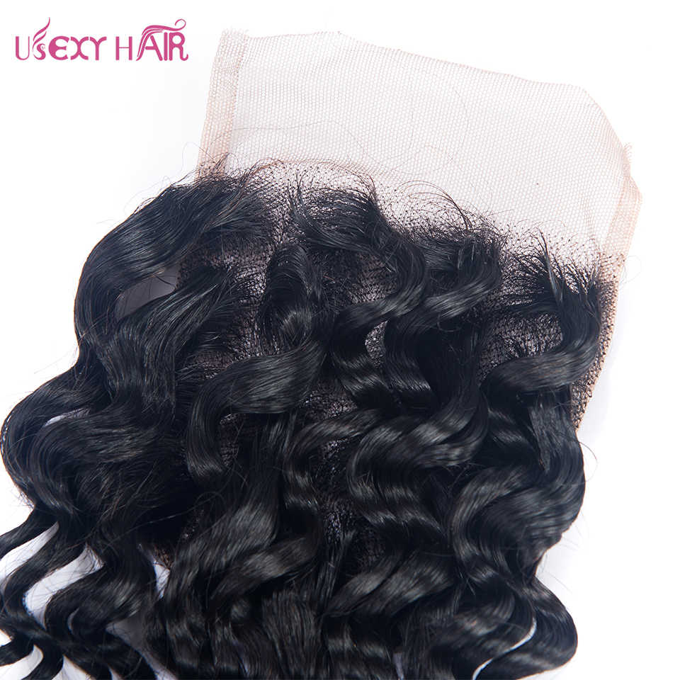USEXY волос бразильский глубокая волна волос Закрытие Ближний Бесплатный часть Remy натуральные волосы застежка 130% плотность швейцарский закрытия шнурка 4x4