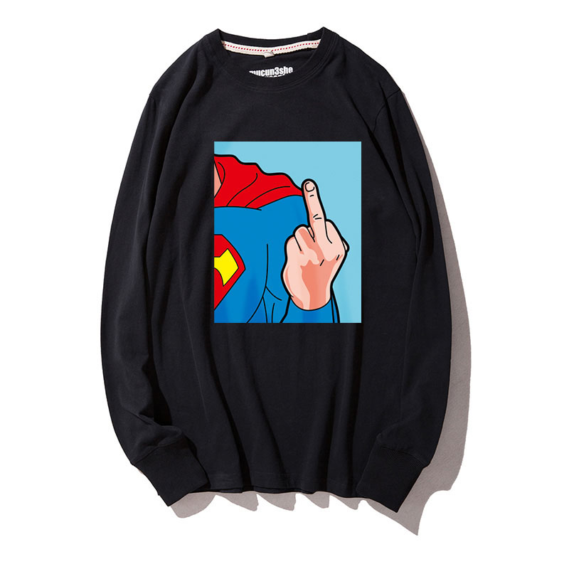 Superhero Male Autumn T shirt Japanese Style Loose Fit Tees Boys Crew Neck Funny Superman Long Sleeved Casual Black XXL