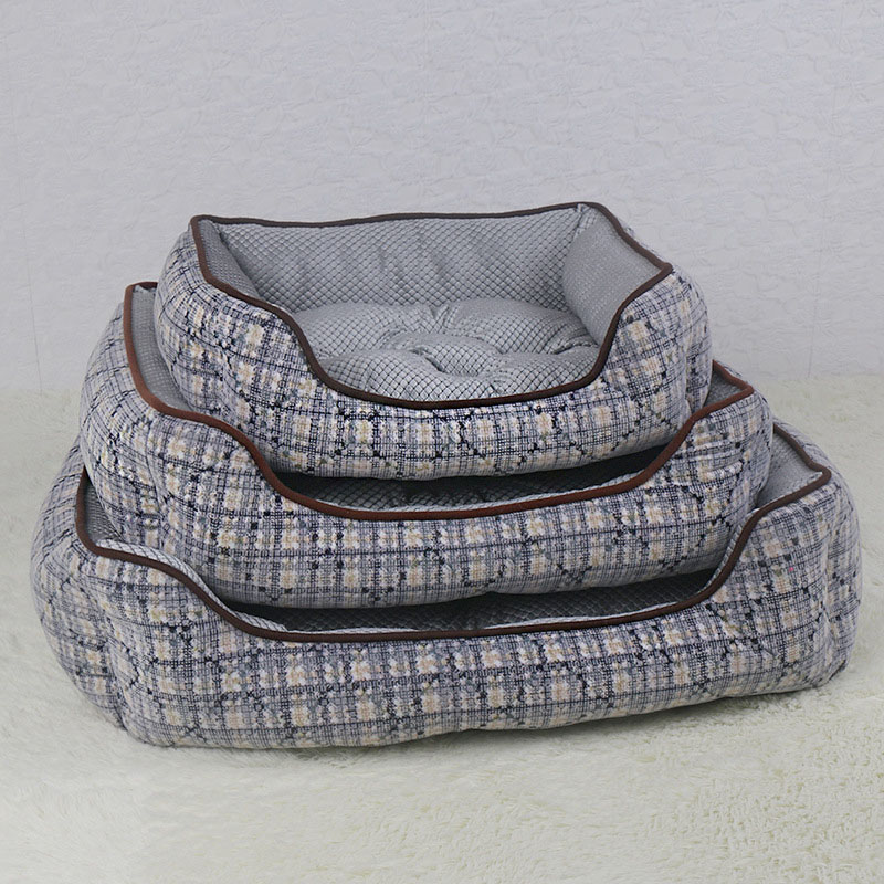 CANDY KENNEL Canvas Soft Pet Dog Cat Bed for Small Medium Bed House Cushion With Removable Pet Mat Nest Washable D1130