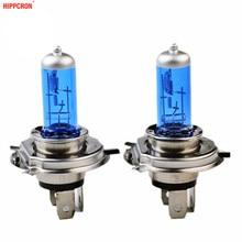 Hippcron h4 lâmpada de halogênio, h4, lâmpada de halogênio 12v 60/55w 5000k para carros, lâmpada de xenon, vidro azul escuro super branco (2 peças)