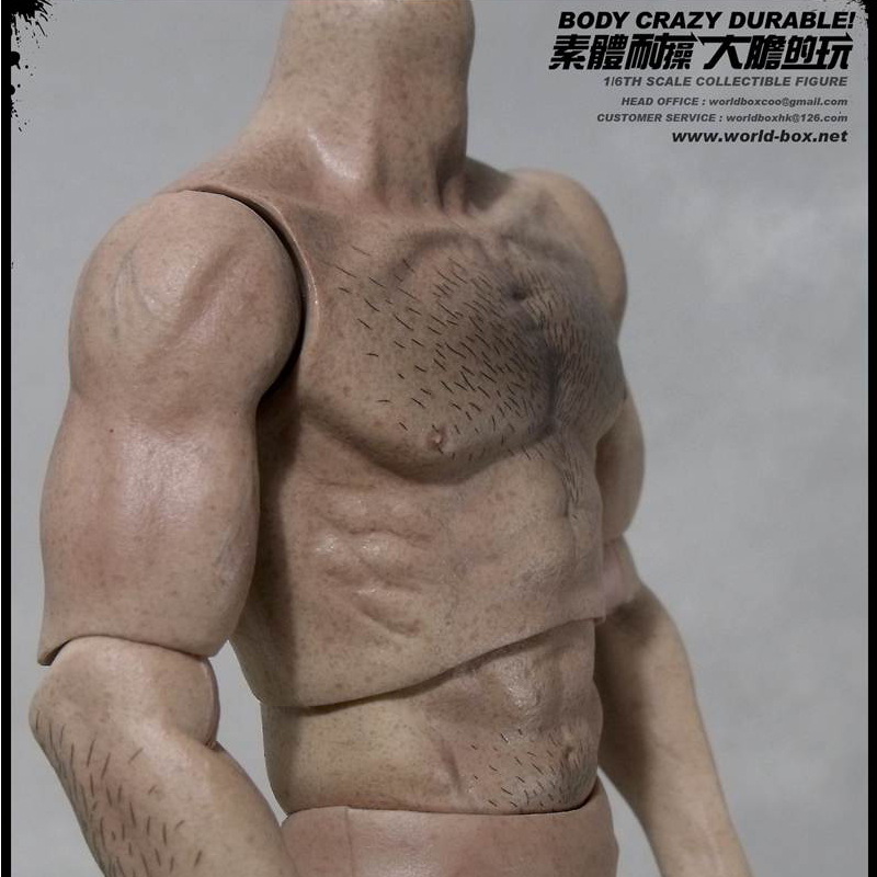 1 6 Scale WorldBox AT008 Male Wolverine Muscle Wide Shoulder Hair Full Body With 4 Pairs