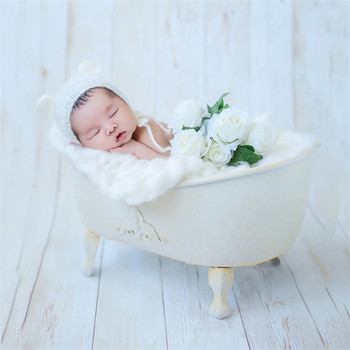 Baby Boy Props for Photography Iron Bath Props with Bubble Cotton Posing Beans Studio Newborn Photography Props Blanket for Girl