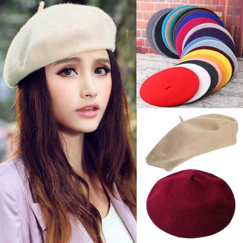 Elegant Lady Women Wool Felt Warm French Classic Beret Beanie Slouch Hat  Cap Tam 3830f8be0487