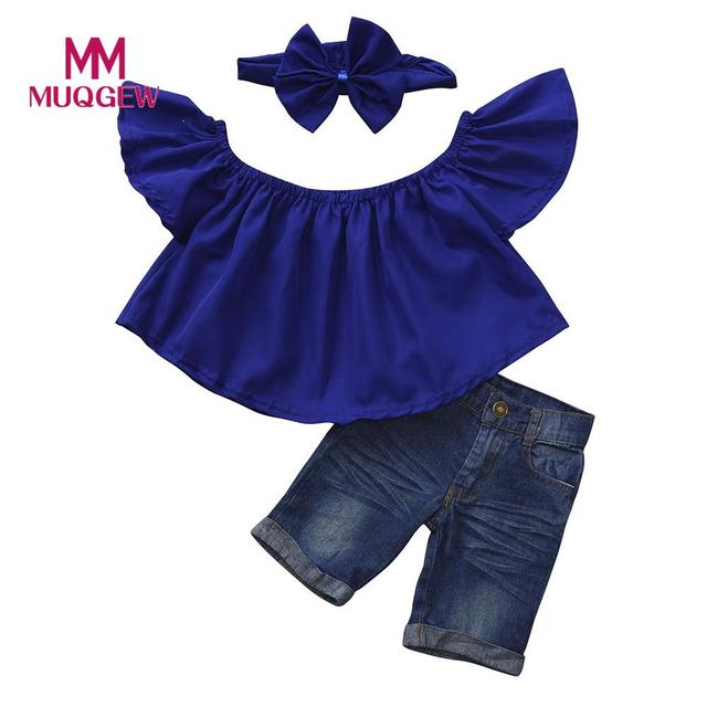 7d84311a57979 3Pcs Baby Kids Girls Off shoulder Crop Tops+Denim Shorts Jean+Headband  Solid Color Clothes High Quality Best Selling