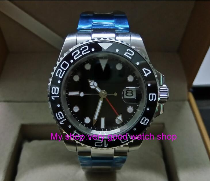 40MM PARNIS red GMT hand Automatic Self Wind movement black Ceramic bezel Sapphire Crystal luminous men's watches 242