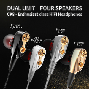 Image 3 - QKZ CK8 HiFi Wired Earphone Dual Dynamic Quad core Speaker 3.5mm In ear earbuds Flexible Cable with Microphone fone de ouvido