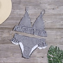 Women Plaid Print Swimsuit Sexy Ruffle Swimwear Brazilian Bathing Suit Bikinis Set Female Summer Halter Beach Wear Biquini